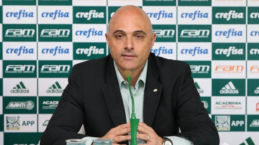 Em entrevista coletiva, Galiotte explicou saída de Eduardo Baptista do Palmeiras. (Cesar Greco/Ag Palmeiras/Divulgação)