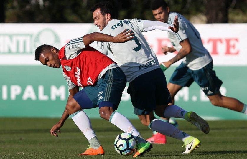 Cuca comandou uma atividade tática e, na sequência, um trabalho recreativo. (Cesar Greco/Ag Palmeiras/Divulgação)