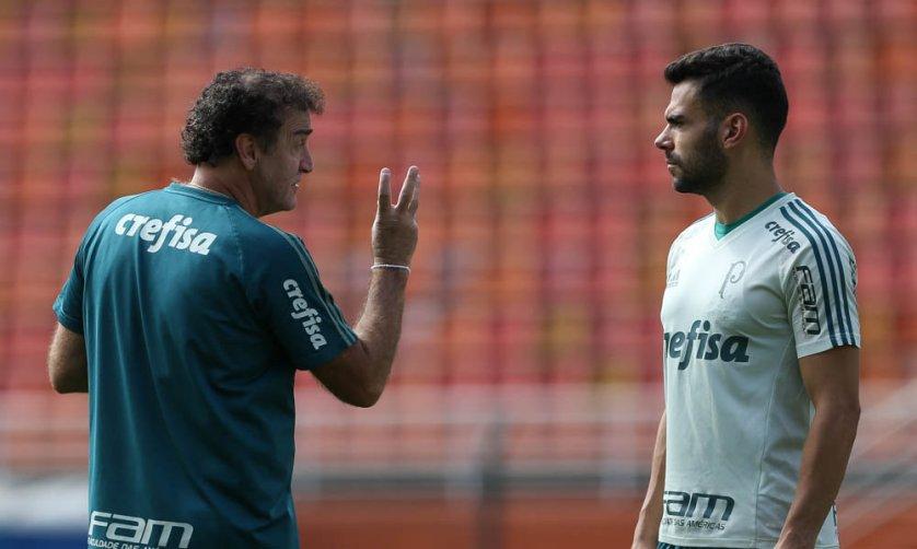 O treinador falou com a imprensa após as atividades realizadas no Pacaembu. (Cesar Greco/Ag. Palmeiras/Divulgação)