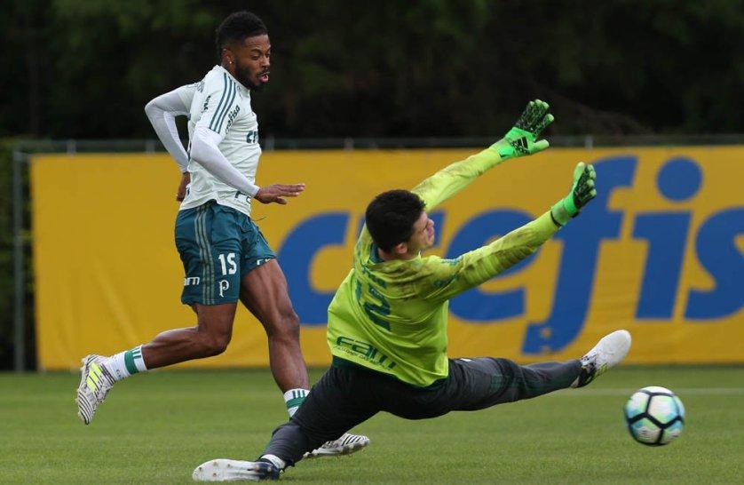 Michel Bastos treinou nesta quinta (29), na Academia. (Cesar Greco/Ag Palmeiras/Divulgação)