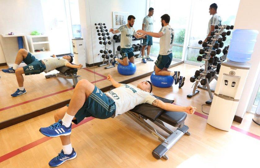 Titulares no jogo contra o Sport fizeram recovery e academia. (Cesar Greco/Ag Palmeiras/Divulgação)
