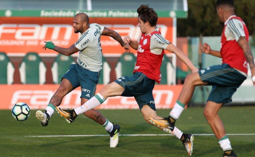 Assim como na segunda-feira (10), Felipe Melo participou normalmente da atividade. (Cesar Greco/Ag. Palmeiras/Divulgação)