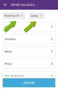 Em time selecione Palmeiras e em marca Adidas. (Reprodução/Netshoes)