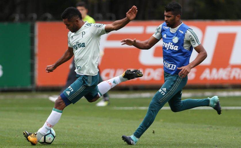 Jogadores participaram de uma atividade tática em preparação ao clássico com o São Paulo. (Cesar Greco/Ag Palmeiras/Divulgação)