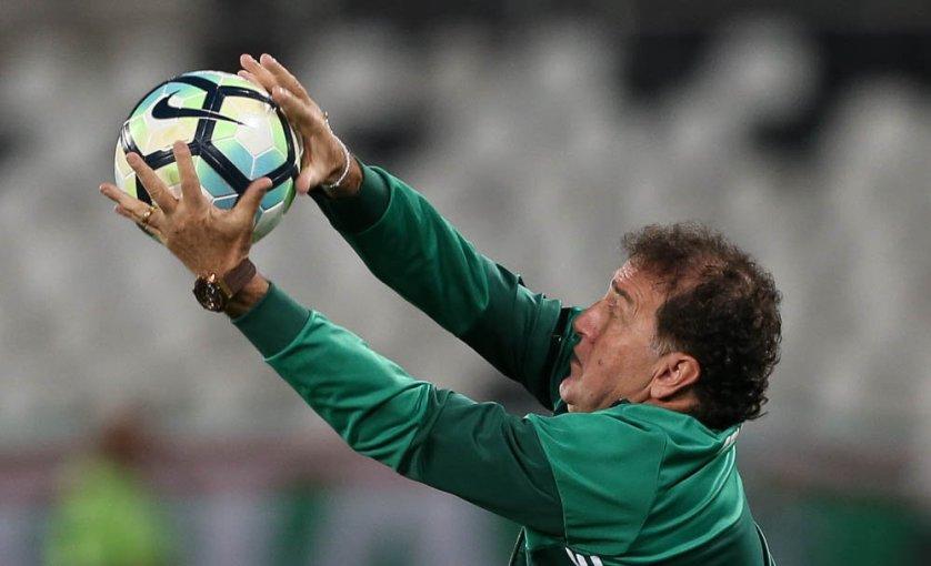 Após a vitória, Cuca elogiou o atacante Deyverson. (Cesar Greco/Ag Palmeiras/Divulgação)