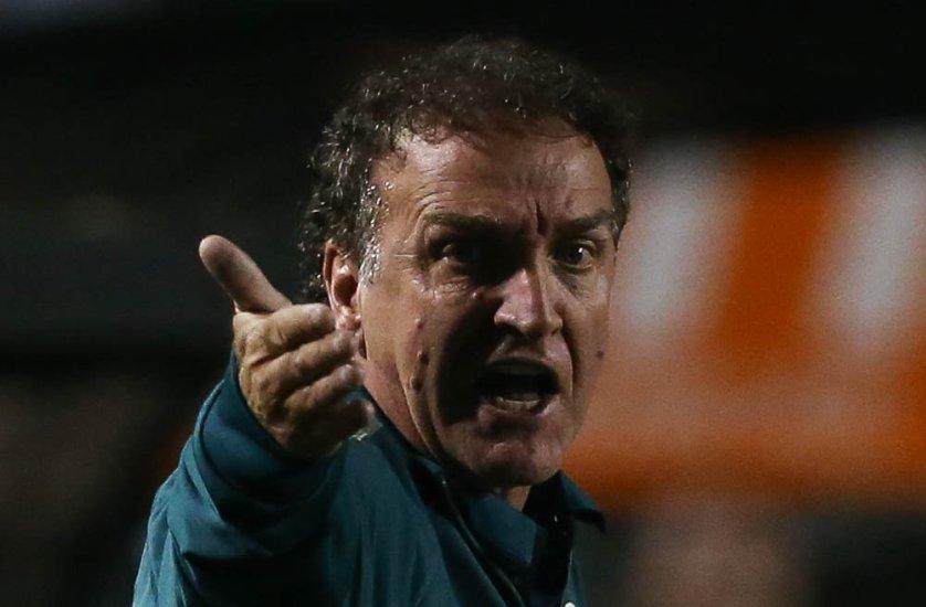 O técnico Cuca vibrou com a vitória do Palmeiras sobre o Coritiba no Pacaembu. (Cesar Greco/Ag Palmeiras/Divulgação)