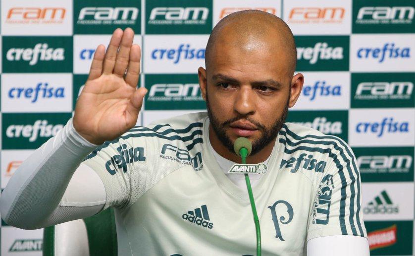 Felipe Melo conversou com jornalistas na tarde desta segunda-feira (04). (Cesar Greco/Ag Palmeiras/Divulgação)