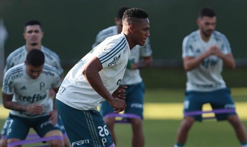 Mina treinou com bola nesta sexta (22). (Cesar Greco/Ag. Palmeiras/Divulgação)