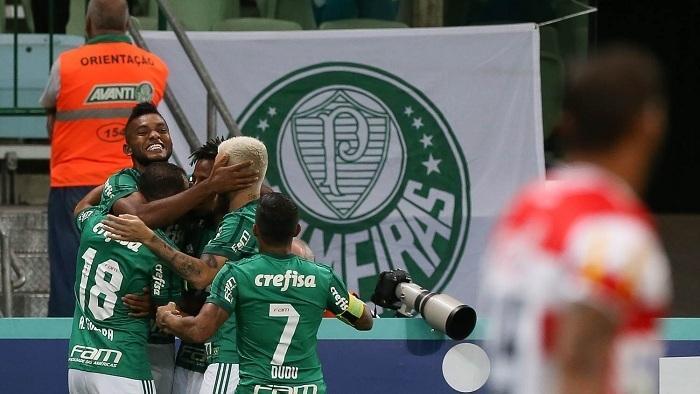 Borja marcou duas vezes no empate com o Linense. (Cesar Greco/Ag Palmeiras/Divulgação)