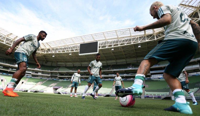 No Allianz Parque, o Palmeiras fará a preparação para encarar o Corinthians, na final do Campeonato Paulista. (Cesar Greco/Ag Palmeiras/Divulgação)