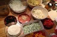 The ingredients for the paella