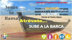 SE INVITA HOY JUEVES A LA HORA SANTA EN SAGRADO CORAZÓN DE NUEVA ROSITA