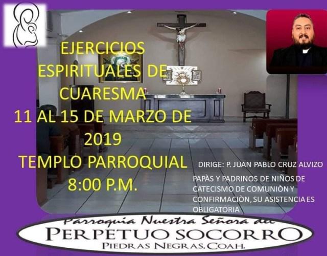 PERPETUO SOCORRO INVITA A SUS EJERCICIOS ESPIRITUALES DE CUARESMA EN PIEDRAS NEGRAS