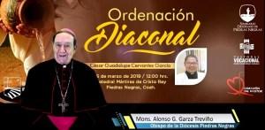 VIDEO: MONS. ALONSO G. GARZA INVITA A LA ORDENACIÓN DIACONAL DE CESAR GPE. CERVANTES GARCÍA.
