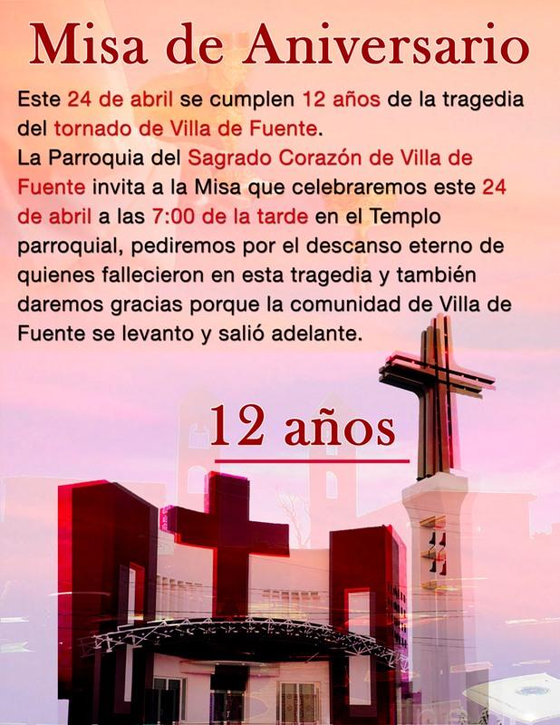 MISA POR LOS 12 AÑOS DE LA TRAGEDIA DEL TORNADO EN VILLA DE FUENTE