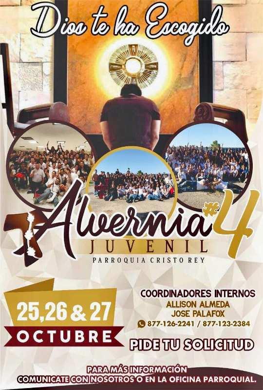 PARROQUIA CRISTO REY INVITA A SU ALVERNIA JUVENIL #4 EN ACUÑA