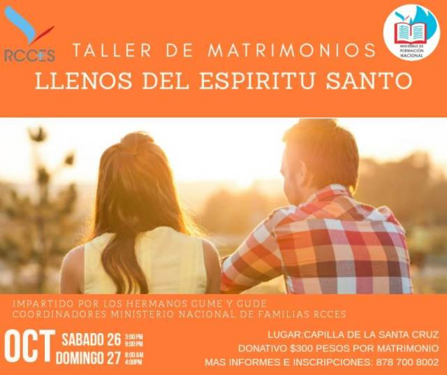RCCES INVITA AL TALLER DE MATRIMONIOS EN PIEDRAS NEGRAS