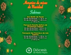 HORARIOS DE MISAS DE NAVIDAD DE SABINAS