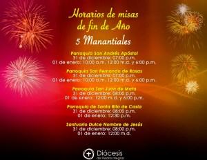 HORARIOS DE MISAS DE FIN DE AÑO EN 5 MANANTIALES