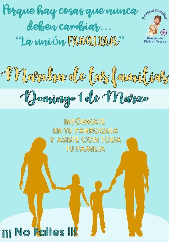 PASTORAL FAMILIAR INVITA A LA MARCHA DE LAS FAMILIAS