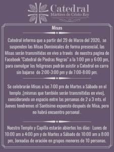 TRANSMISIONES EN VIVO DE MISAS EN FACEBOOK DE CATEDRAL