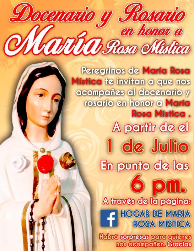 DOCENARIO Y ROSARIO EN HONOR A MARÍA ROSA MÍSTICA