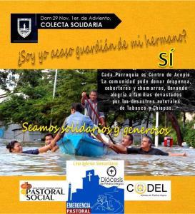 COLECTA SOLIDARIA PARA NUESTROS HERMANOS DE TABASCO Y CHIAPAS