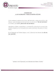 """COMUNICADO: """"CAMBIO DE FECHA COLECTA ANUAL DEL SEMINARIO"""""""