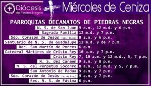 HORARIOS DE MIÉRCOLES DE CENIZA PIEDRAS NEGRAS