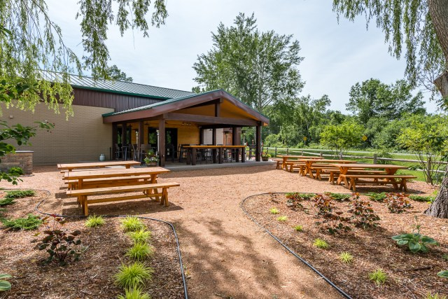 The Beer Garden and patio of the Red Keg Barrel House Event Venue is perfect for parties, receptions, and rehearsal dinners.
