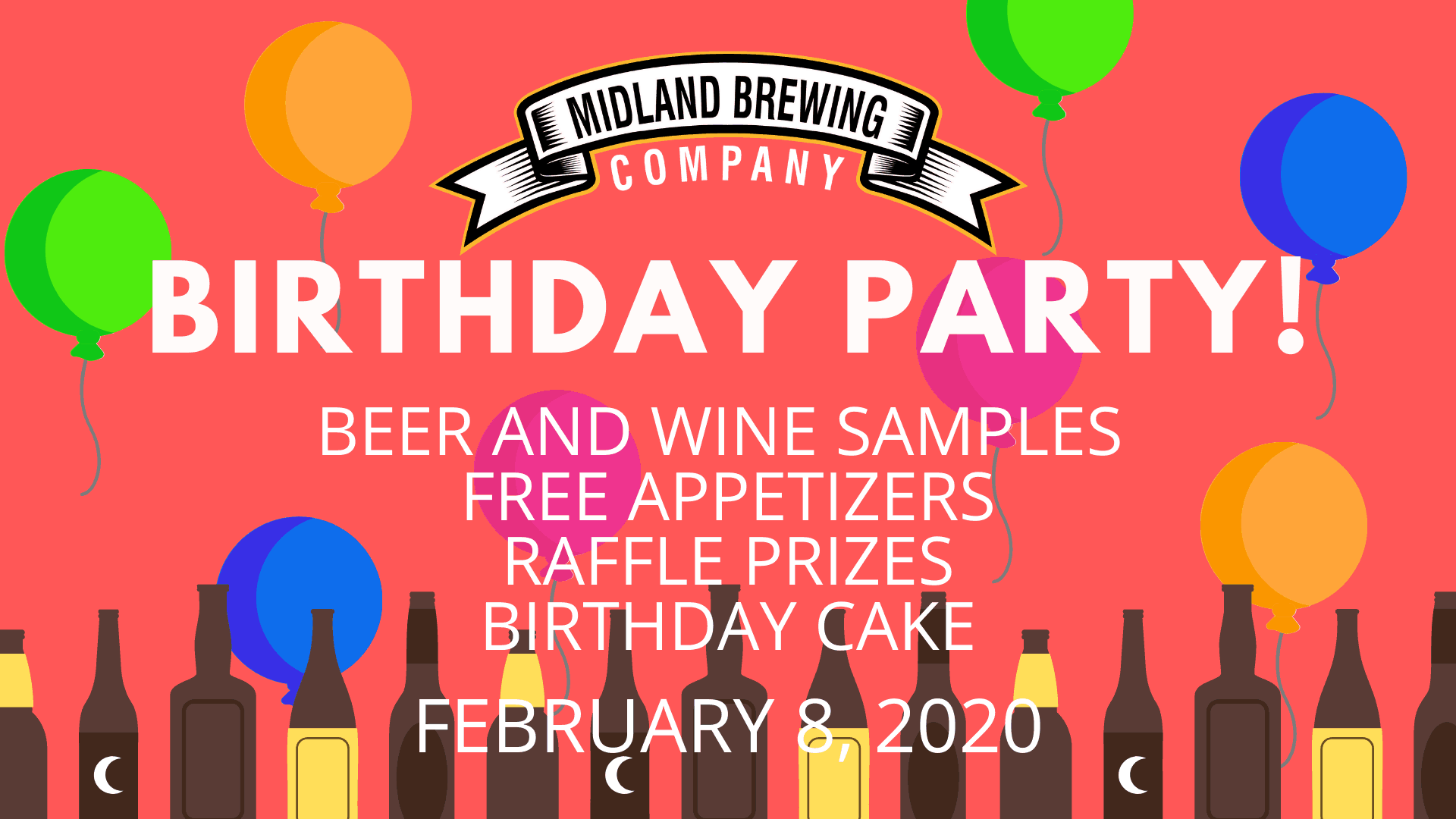 Midland Brewing Company is turning 3 on February 8th, 2020! Join us for beer and wine samples, birthday cake, brewery tours and prizes!