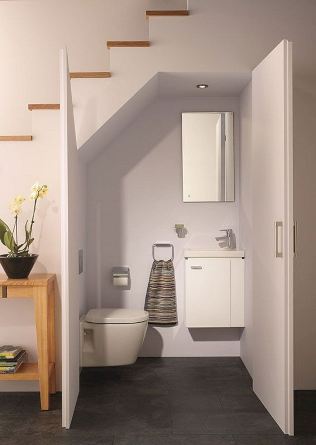 Cloakroom To Toilet Conversion Doors Windows Kitchens   Under Stair Toilet Design   Toilet Separate   Small   Powder Room   Down   Minimalist