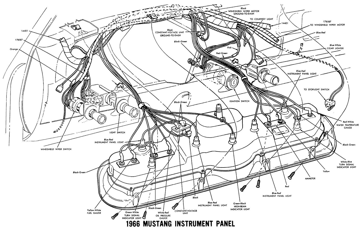 1969 mustang radio wiring diagram single coil humbucker vintage diagrams 66 instrument cluster detail