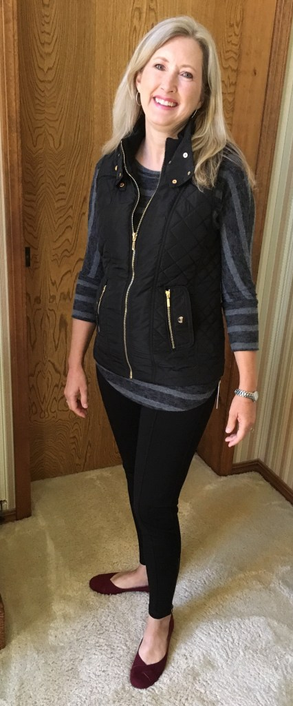 Corinna Brushed Dolman Knit Top, Lazarus Quilted Puffer Vest, Molly Ankle Zip Detail Legging, and Petite Ballet Flats