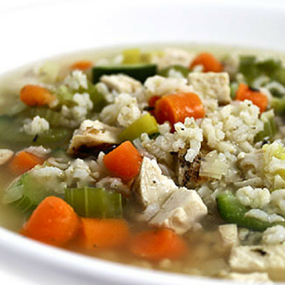 Skinny Chicken, Brown Rice and Vegetable Soup