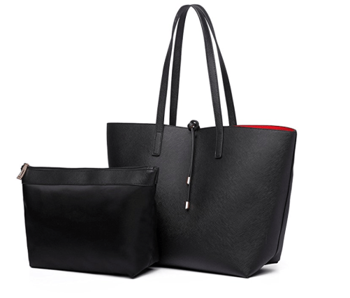black and red reversible tote