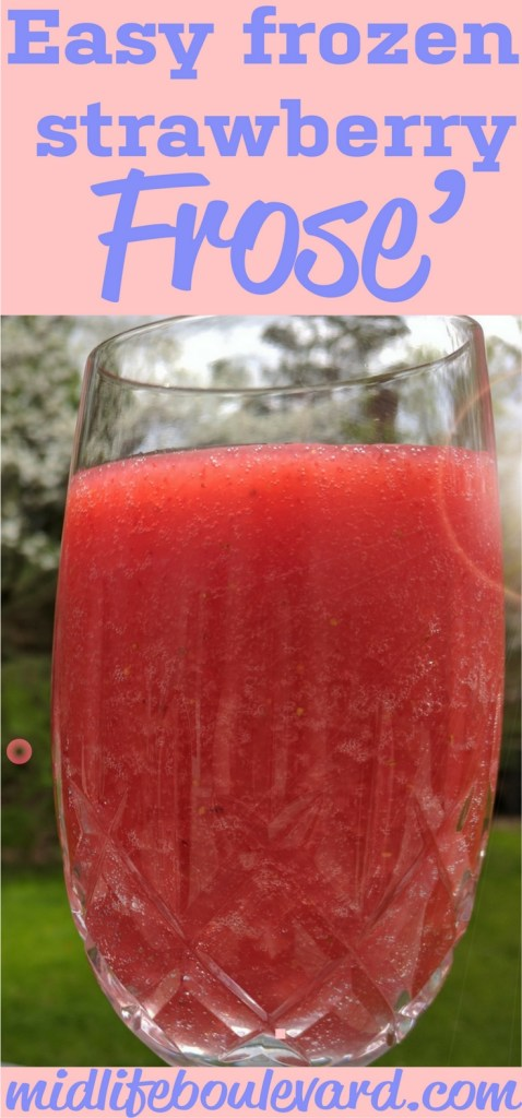 Frose', the frozen wine cocktail. It's an easy and fast summer cooler when you need a frozen cocktail. It's like a boozy wine slushie. Make with moscato or pinot noir rose' wine.