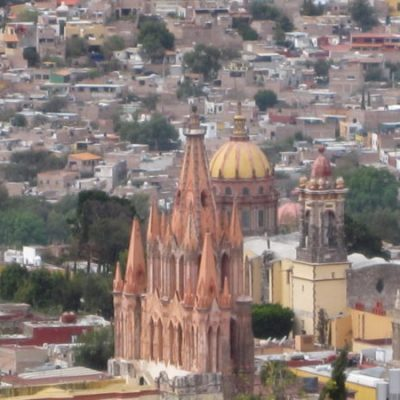 Looking down on San Miguel de Allende and the Parroquia from a hillside in Atascadero