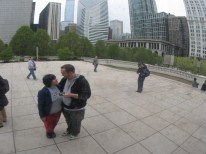 """April 13th: My wife and I visit Chicago's reflective """"Millennium Gate"""" sculpture, a.k.a. """"The Bean""""."""