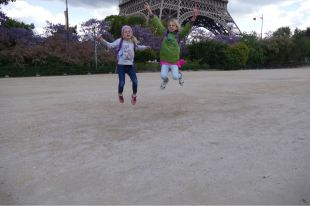 Excited to be at the Eiffel Tower