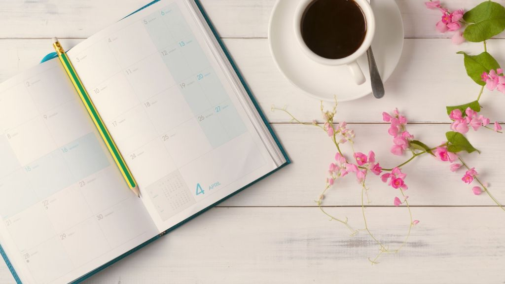 calendar, coffee, flowers