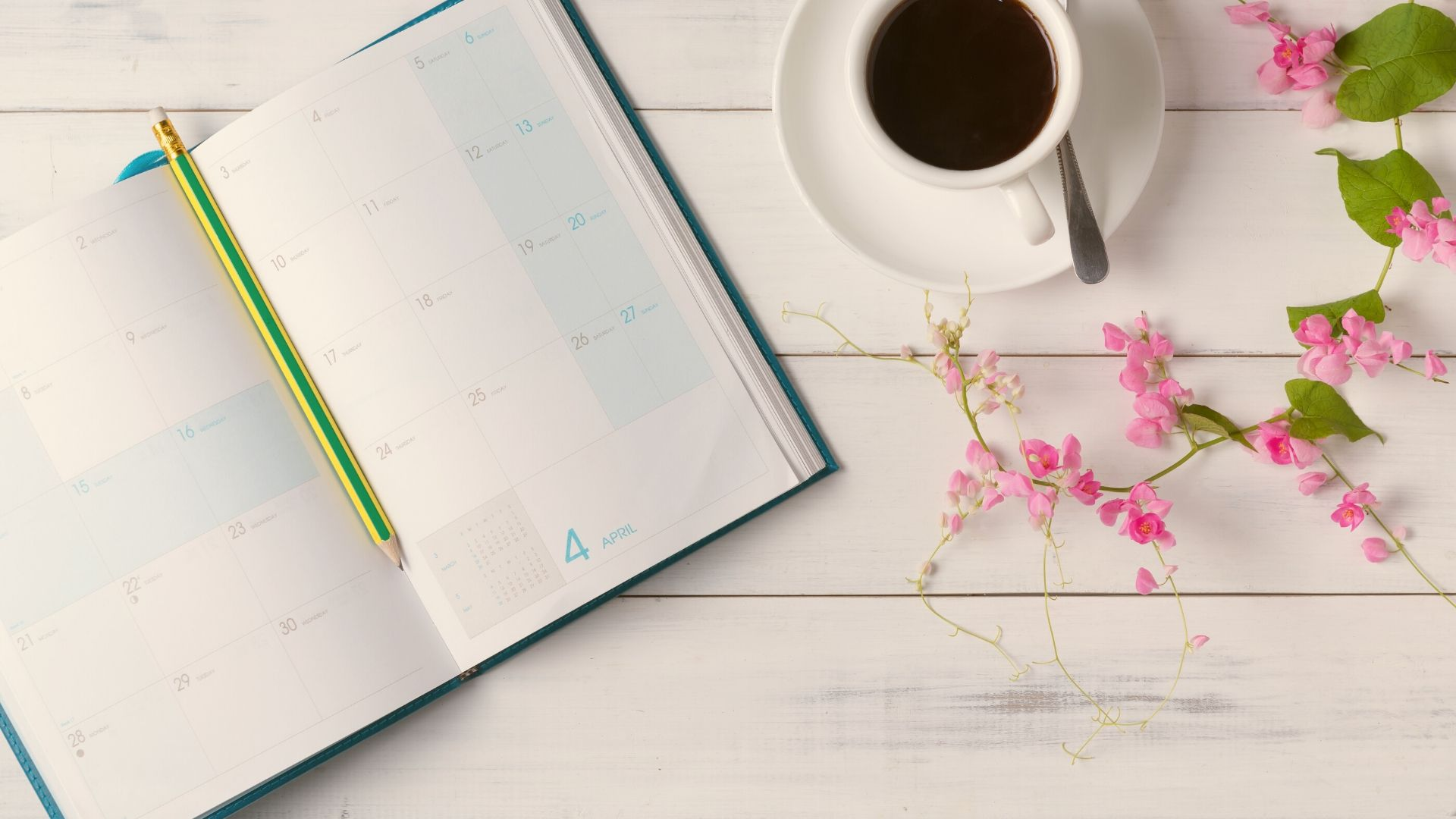 calendar, coffee, flowers