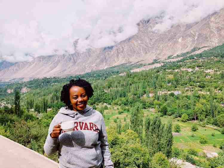 Tea with a view of the mountains of Hunza Valley Pakistan
