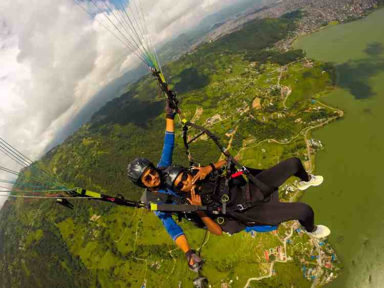 Paragliding over Phewa Lake
