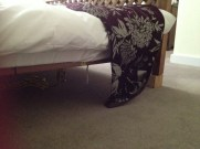 Chocks uner the bed to make it level