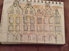 Facade of houses in place des Heros, Arras