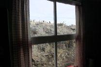 Penguins through the window at Port Lockroy