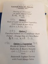 Dinner menu of the same day - and they say it's not a luxury ship!