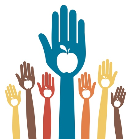 healthy apple hands design. - volunteer