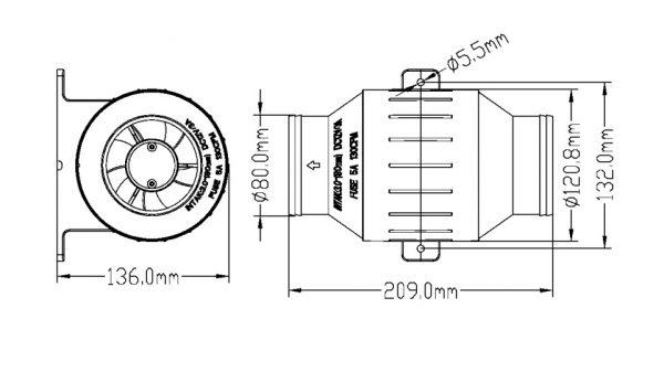 In-line Turbo Bilge Blower, 230CFM, Waterproof to IP66, 3